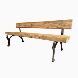 Antique Garden Cast Iron Bench with Beams