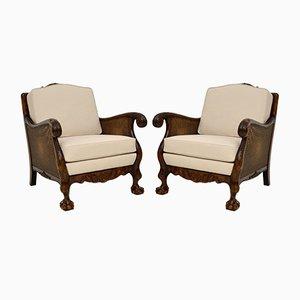 Antike schwedische Bergere Sessel aus satinierter Birke, 2er Set