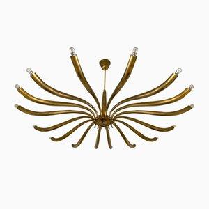 Italian Brass Sun Chandelier by Guglielmo Ulrich, 1960s