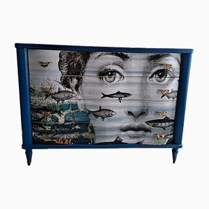 Vintage Italian Drawer Unit in the Style of Fornasetti