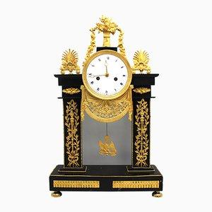 Horloge en Bronze Doré et Marbre, 18ème Siècle