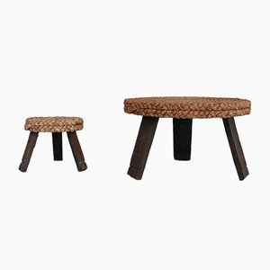 Mid-Century French Coffee Table and Side Table by Adrien Audoux & Frida Minet, Set of 2