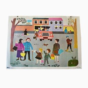 Bohemian l'arrêt de Bus Schulposter von Fernand Nathan