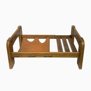 Dutch Brutalist Pine Slatted Coffee Table with Leather Magazine Holder