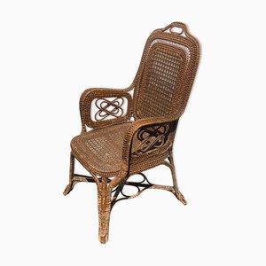 Rattan Korbgeflecht Bambus Stuhl von Perret Et Vibert, 1895