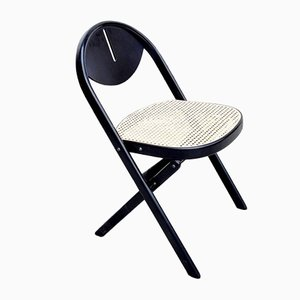 Mid-Century Folding Wooden Chair in the style of Achille Castiglioni, Italy, 1970s