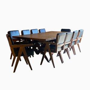 Teak Esstisch & Stühle von Pierre Jeanneret, 1960er, 11er Set