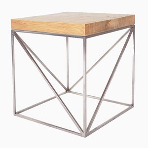 Industrial Minimal Solid Oak Wood and Stainless Steel Coffee Table from Crackstudio, 2009