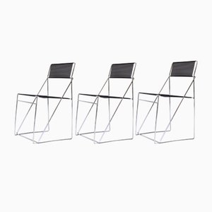 Vintage Nuova X-Line Chairs by Niels Jørgen Haugesen for Hybodan AS, Denmark 1970s, Set of 3