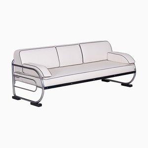 Bauhaus Sofa mit verchromtem Rohrgestell aus weißem Leder von Robert Slezák, 1930er