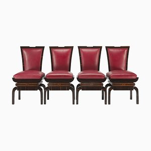 Red Art Deco Chairs, Set of 4