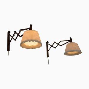 Wall Lamps in Teak by Erik Hansen for Le Klint, Denmark, 1960s, Set of 2