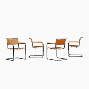 S34 Cognac Leather Chair by Mart Stam for Thonet