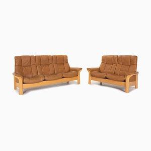 Buckingham Leather Wood Sofa Set from Stressless, Set of 2