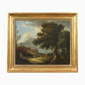 Paesaggio con figure, olio su tela