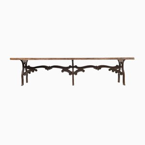 Large Wooden and Cast Iron Industrial Table