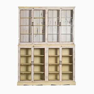 Large Wood and Glass Wardrobe with White Patina