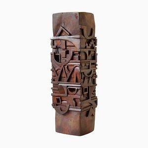 Abstrakte Totem Skulptur aus Holz geschnitzt