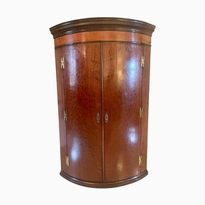 18th Century George III Plum Pudding Mahogany Bow Fronted Cabinet