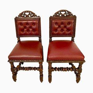 Antike viktorianische Beistellstühle aus geschnitzter Eiche, 2er Set