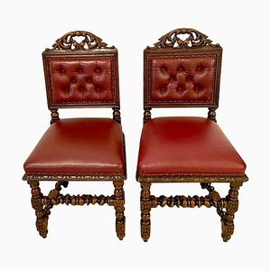 Antique Victorian Carved Oak Side Chairs, Set of 2