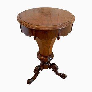 Antique Victorian Mahogany Circular Trumpet Sewing Table