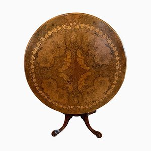 Antique Victorian Round Burr Walnut Marquetry Low Centre Table