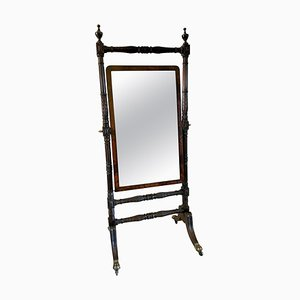 Outstanding Large Antique Regency Carved Mahogany Cheval Mirror