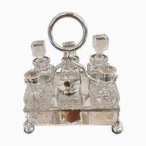 Antikes versilbertes Menage Set mit 6 Flaschen