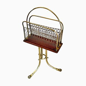 Antique Victorian Brass and Mahogany Revolving Magazine Stand