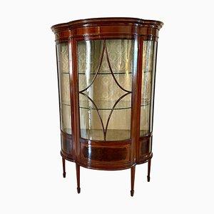 Antique Edwardian Inlaid Mahogany Shaped Display Cabinet