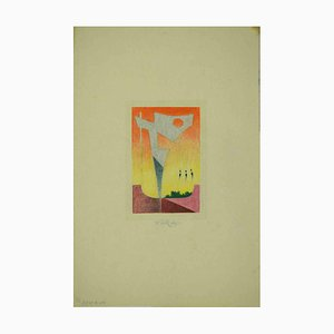 Leo Guide, Composition Abstraite, Dessin, 1985