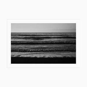 Pacific Beach Horizon, Sunset Seashore in Black and White, Sugimoto Style Giclée, 2021