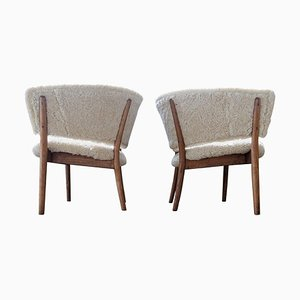 Mid-Century Lounge Chairs in Sheepskin and Stained Wood, Sweden, 1962, Set of 2