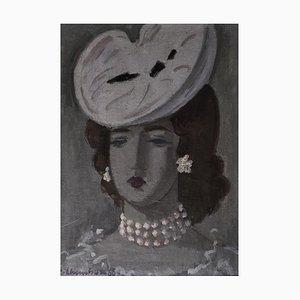 Emile-François Chambon, Portrait au Chapeau Blanc et Collier de Perles, 1966