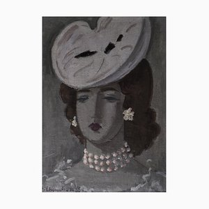 Emile-François Chambon, Portrait to White Hat and Pearl Necklace, 1966