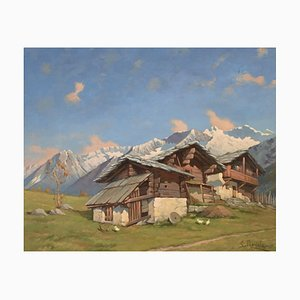 E. Mariola, Mountain Landscape with Chalets, 1942