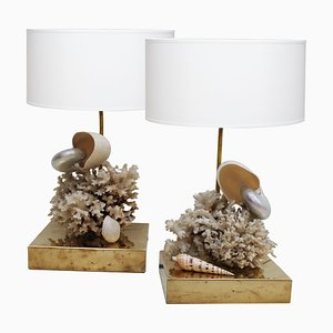 Brass and Seashell Table Lamps, Spain, 1980, Set of 2