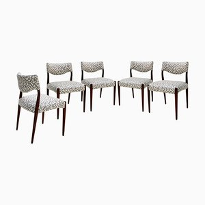 Mid-Century Skandinavische Geometrische Mahagoni Stühle, Dänemark, 1950er, 5er Set