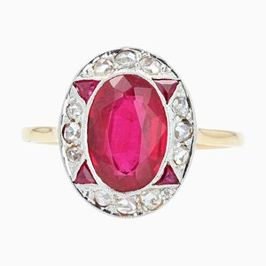 French Art Deco Diamonds and Verneuil Ruby 18 Karat Yellow Gold Ring, 1925