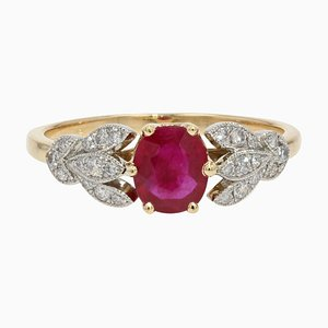 Ruby Diamonds 18 Karat Yellow Gold Thin Ring