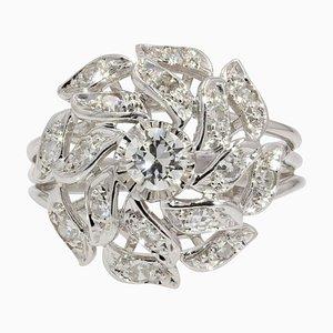French Diamonds 18 Karat White Gold Retro Ring, 1970s