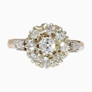Gänseblümchen Ring aus 18 Karat Gelbgold mit Diamanten, 19. Jh