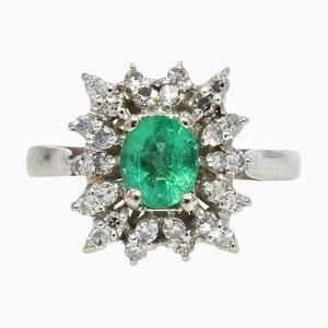 Emerald and Diamonds 18 Karat White Gold Cluster Ring, 1970s