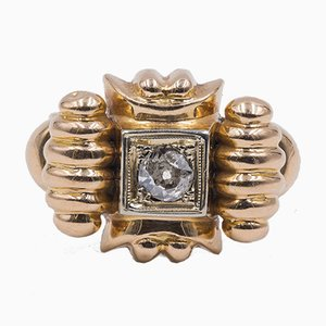 Antique 18K Yellow Gold Ring with Diamond, 1940s