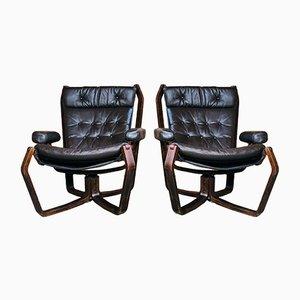Skandinavisches Vintage Viking Chair Set aus Coco Leder, 1970er, 2er Set