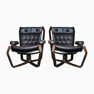 Vintage Scandinavian Viking Chair Set in Coco Leather, 1970s, Set of 2