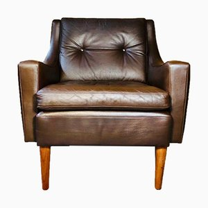 Vintage Danish Leather Lounge Chair by Georg Thams, 1960s
