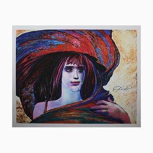 Ernst Fuchs, Girl in Big Hat, Giclée Druck auf Leinwand, 21st Century