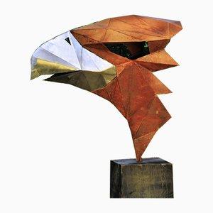 Deutsche Polygon Skulptur aus Stahl, Adler auf oxidiertem Eichenholz Sockel, 21. Jh